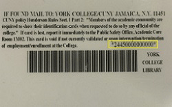 Back of York ID card, with library barcode (middle right) highlighted in yellow